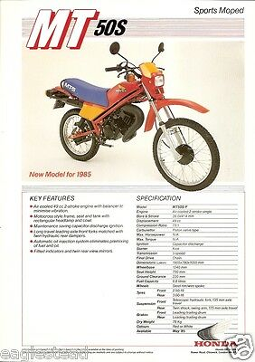 Motorcycle Brochure - Honda - MT50S - Sports Moped - 1985 (DC44)