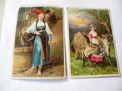 TWO JAYNE'S JAYNES TONIC VICTORIAN TRADE CARD CARDS cow and well