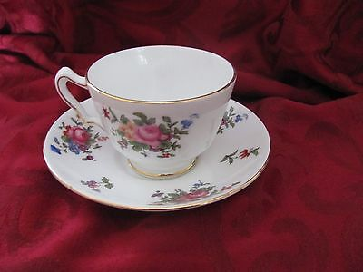 Crown Staffordshire bone china cup & saucer England C8234 floral gold rims white