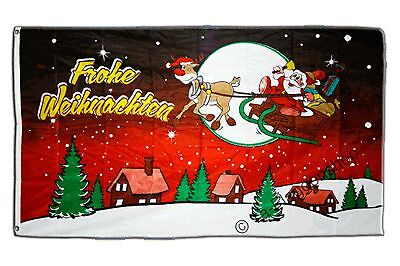 Fahne Flagge Frohe Weihnachten rot - 90 x 150 cm Hissflagge