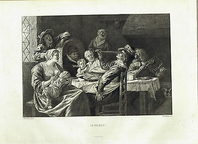 LE ROI BOIT- The King Drinks! by Jan Steen - Etching 1873 - Wilson