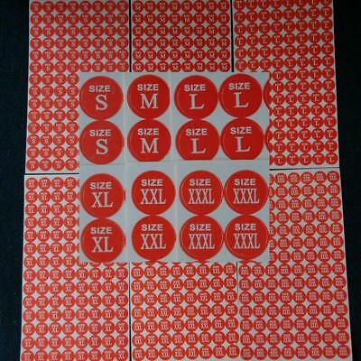 1344 Clothes Apparel Size Stickers Retail Round Self-Adhesive Clothing Labels