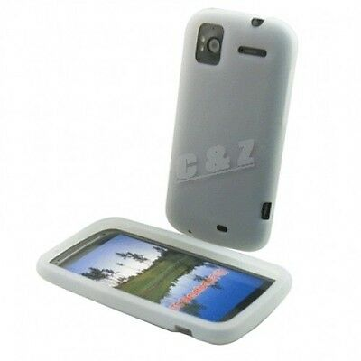 Whtie Silicone Cover Case + LCD Film for HTC Sensation 4G b