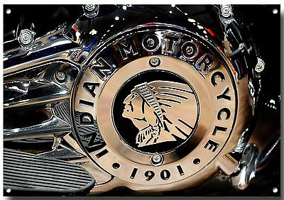 "Lge A3 Size ""indian Motorcycle Engine"" High Sheen Enamelled Finish Metal Sign"