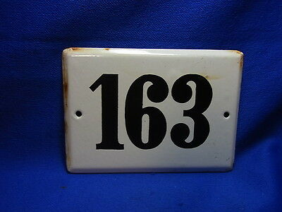 Vintage German Enamelware House Sign White 163 #BB