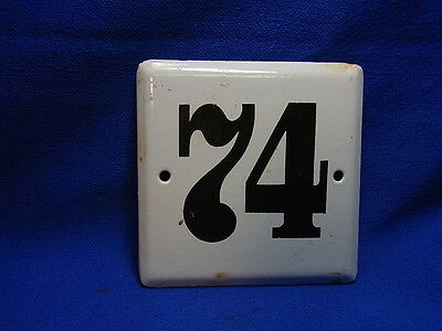 Vintage German Enamelware House Sign White 74 #BB