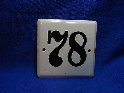 Vintage German Enamelware House Sign White 78 #BB1