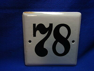 Vintage German Enamelware House Sign White 78 #BB2
