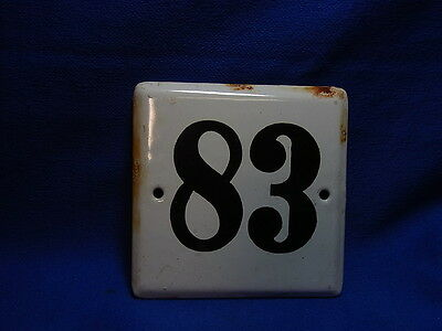 Vintage German Enamelware House Sign White 83 #BB