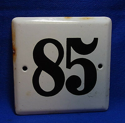 Vintage German Enamelware House Sign White 85 #BB1
