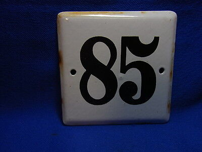 Vintage German Enamelware House Sign White 85 #BB2