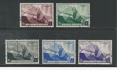 BELGIUM # B209-213 Used KING LEOPOLD, MILITARY PLANE (002)
