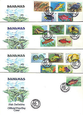 BAHAMAS 1986-87 FISH Definitive Stamps Set 16v on 4  First Day Covers Re:CW524