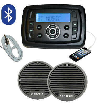 Marine Boat Stereo MP3/AM/FM/USB/Ipod Player + Speakers +Antenna Bluetooth Audio