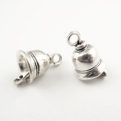 25PCS Antiqued Silver Retro Style No Sound  Small Bell Charm Pendant  11*11mm