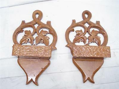 Matched Pair Small Hand Carved Wooden Wall Pockets Ornate Wood Leaf Walnut