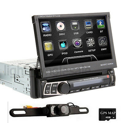 "7"" Single DIN Car DVD Player GPS Navigation Bluetooth Touch Stereo Radio SD+Cam"