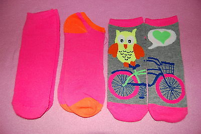 3 Pair LOT GIRLS Side by Side DESIGN SOCKS Fits Shoe Size 4-10 OWL BICYCLE HEART