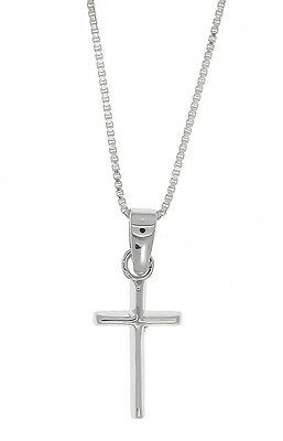 Sterling Silver Small Beveled Plain Cross Pendant Necklace
