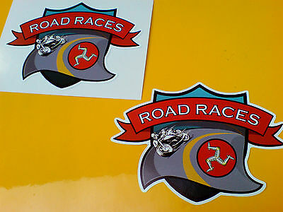 ISLE OF MAN ROAD RACES TT Fans Motorcycle Stickers Decals 2 off 100mm