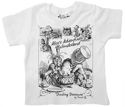"Dirty Fingers Baby T-shirt ""Alice in Wonderland Dormouse"" Mad Hatter Rabbit"