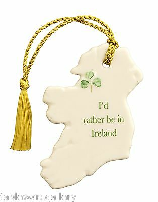 """Belleek """"I'd Rather Be In Ireland"""" & """"May The Road Rise To Meet You"""" Ornaments"""