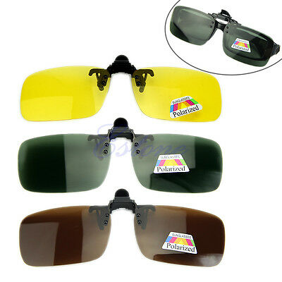 Polarized Day Night Vision Clip-on Flip-up Lens Sunglasses Driving Glasses