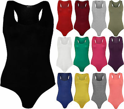 New Womens Sleeveless Racer Back Ladies Stretch Bodysuit Leotard Vest Top 8-14