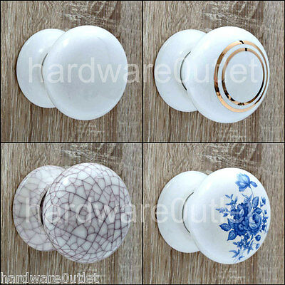 CERAMIC Cottage Mortice Door Knobs or Matching Finger/Push Plates White or Cream