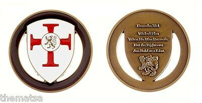 """PROVERBS 28:1 PRAYER WICKED FLEE BOLD AS A LION 1.75"""" CHALLENGE COIN"""