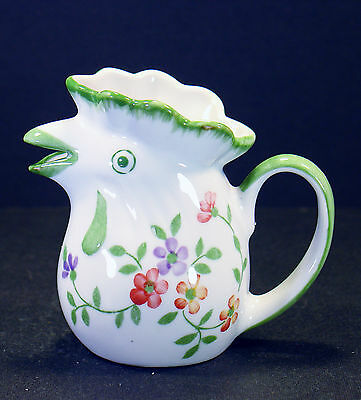 "Andrea by Sadek Miniature Porcelain Chicken Pitcher Floral Thailand 3"" Tall #783"