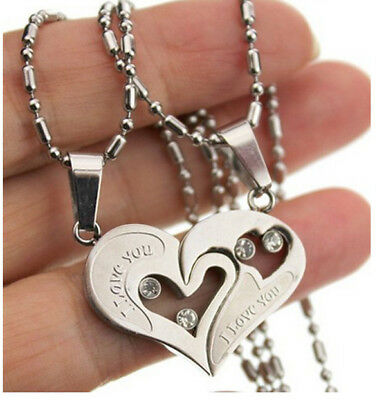 Silver His and Hers Stainless Steel Love Heart Men Women Couple Pendant Necklace