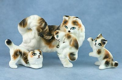 Vintage Set 3/4 Bone China Miniature Fluffy Cat & Kittens Figurines Matte Japan