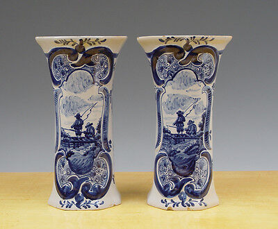Antique Large Pair of Dutch Delft Beaker-Vases Anglers 19th C Marked