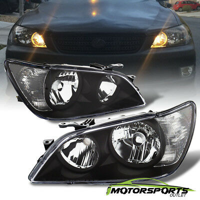 01-05 Lexus IS300 Crystal Black BLK Headlights Left Right Head Lamps Assembly 04