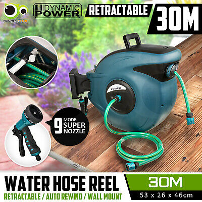 30m Retractable Auto Rewind Water Hose Reel Garden Tool Wall Mount Quick Release