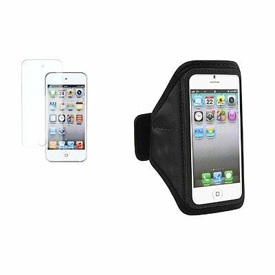Black Sportband Armband Case+3x LCD Protector For iPod Touch iTouch 5 5th 5G