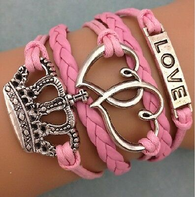 NEW Infinity Love Heart Crown Friendship Antique Silver Leather Charm Bracelet !