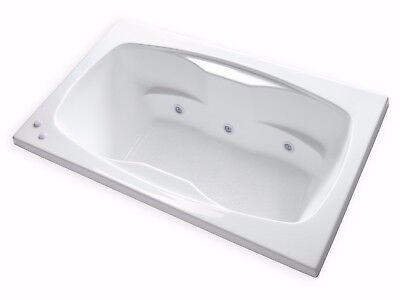 """Carver Tubs AR6042 60"""" x 42"""" Drop In Center Drain White 6 Jetted Whirlpool Tub"""