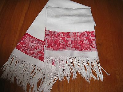 RARE MATCHING PAIR EXCEPTIONAL TURKEY RED LINEN DAMASK SHOW TOWELS~c1920~EVC