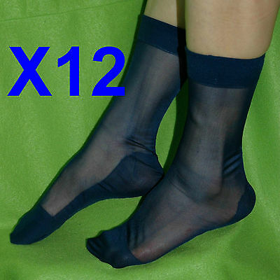 12 Pairs Of Men's Sheer Causal Dress Suit Socks Sheer See Through Soft Thin Pure