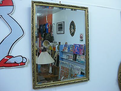 Antique Vintage Bevelled Edge Wall Mirror w/ Hanging Chain Art Deco Nice Frame