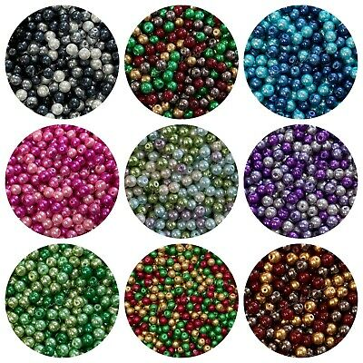 Round Glass PEARL Beads 400 x 4mm 200 x 6mm 100 x 8mm 50 x 10mm Many Colours ML