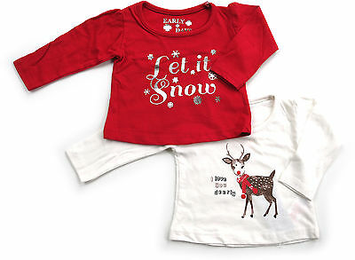 2 Baby Girl Red & White Christmas Tops Let It Snow / Reindeer 0-3 Months Bnwt