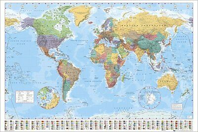World Map with Nations Flags Style Poster Print, 24x36