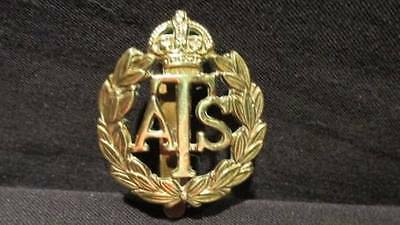 Auxiliary Territorial Service (ATS) WWII Great Britain Military Brass Cap Badge
