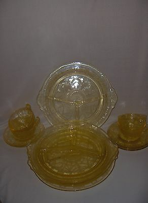 13 Pc Depression Glass Hocking Yellow Cameo Grill Plates Cups Saucers  NICE