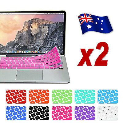 """2x Colored Soft Keyboard Case Cover For Apple Macbook Air Pro 13.3"""" 15.4"""""""