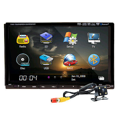 "2 Din 7"" HD Car Stereo DVD Radio Player Ipod TV Bluetooth GPS Navigation+MAP+Cam"