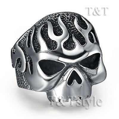 RZ11 High Quality T/&T 316L Stainless Steel Skull Ring Size 13